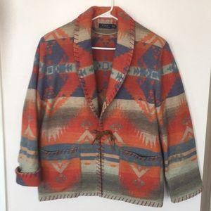 RL Southwestern Navajo/Aztec Blanket Coat (XL)